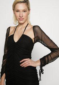 Club L London - BARDOT TIE FRONT RUCHED MINI DRESS - Day dress - black - 5