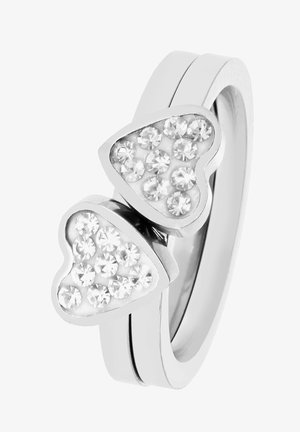 Ring - silver-coloured, white