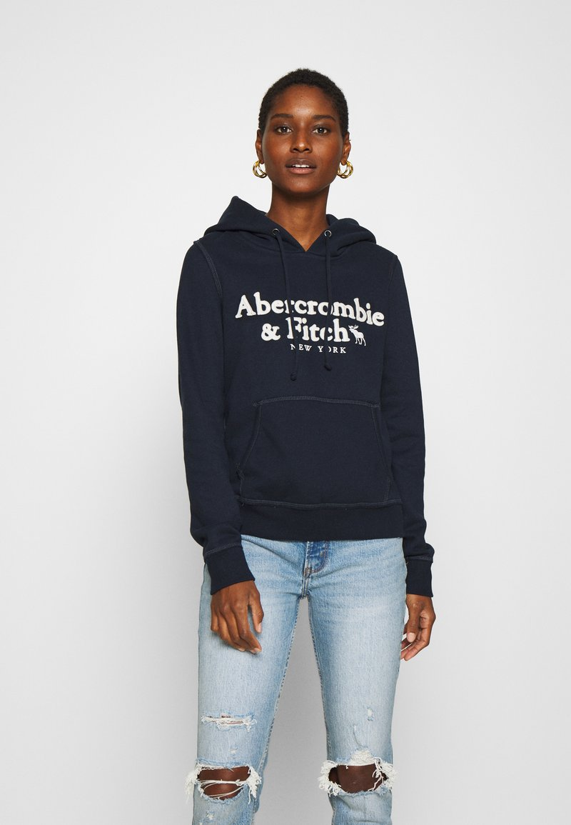 Abercrombie & Fitch - HERITAGE LOGO POPOVER - Hoodie - navy