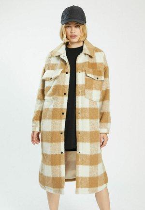 MIT KAROMUSTER - Classic coat - kastanienbraun