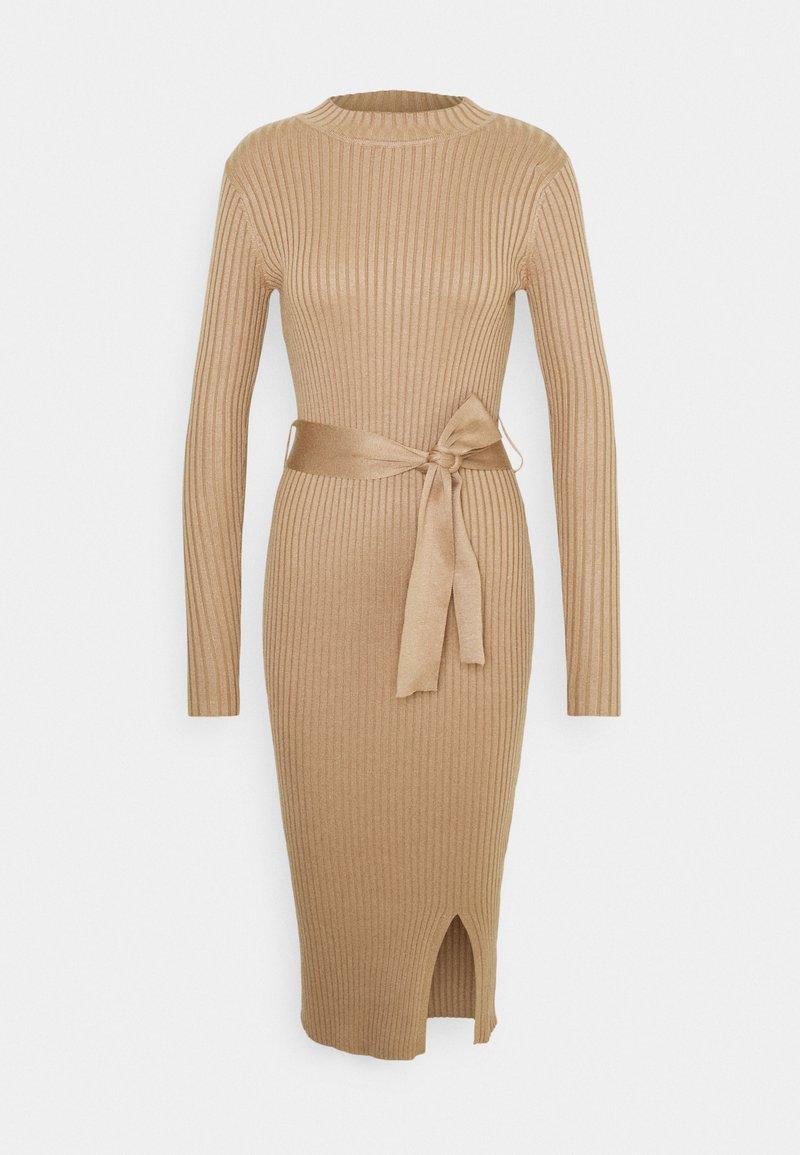 New Look - TIE WAIST MIDI DRESS - Pouzdrové šaty - camel