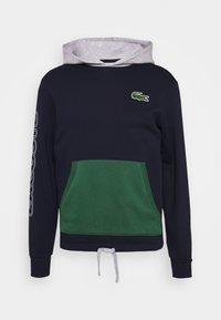 Lacoste - OUTLINE - Sweat à capuche - marine/argent chine-vert - 0