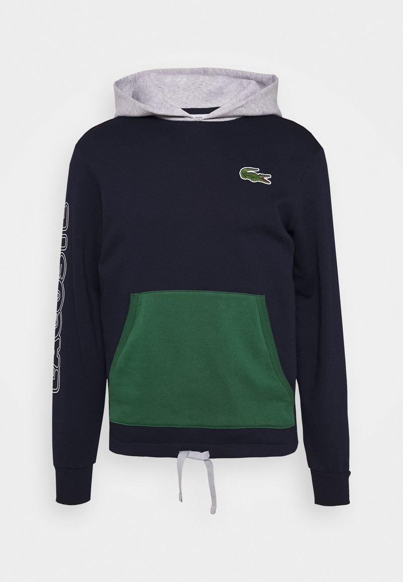 Lacoste - OUTLINE - Sweat à capuche - marine/argent chine-vert