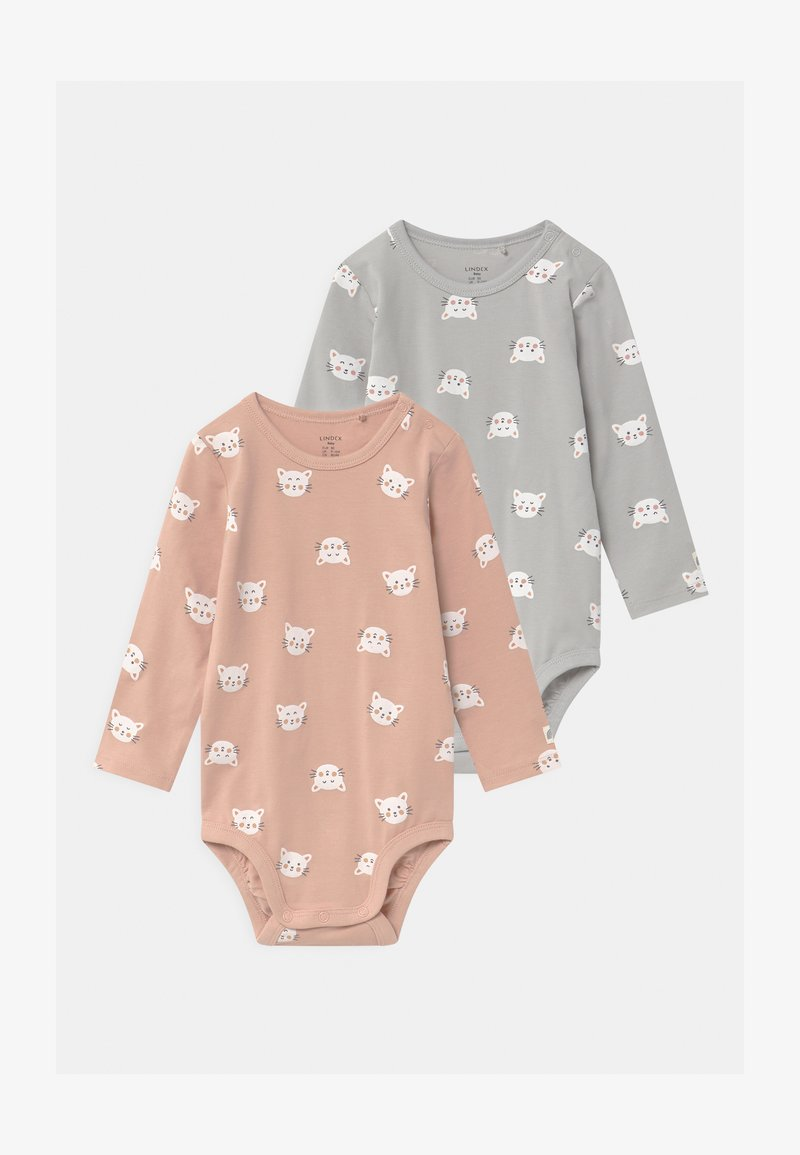 Lindex - CATS 2 PACK - Body - light grey/dusty pink