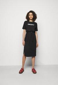 DKNY - LOGO DRAWSTRING - Jersey dress - black - 0