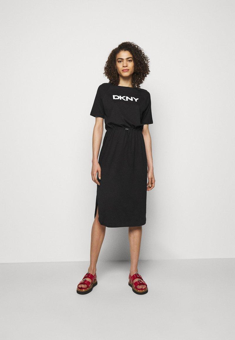 DKNY - LOGO DRAWSTRING - Jersey dress - black