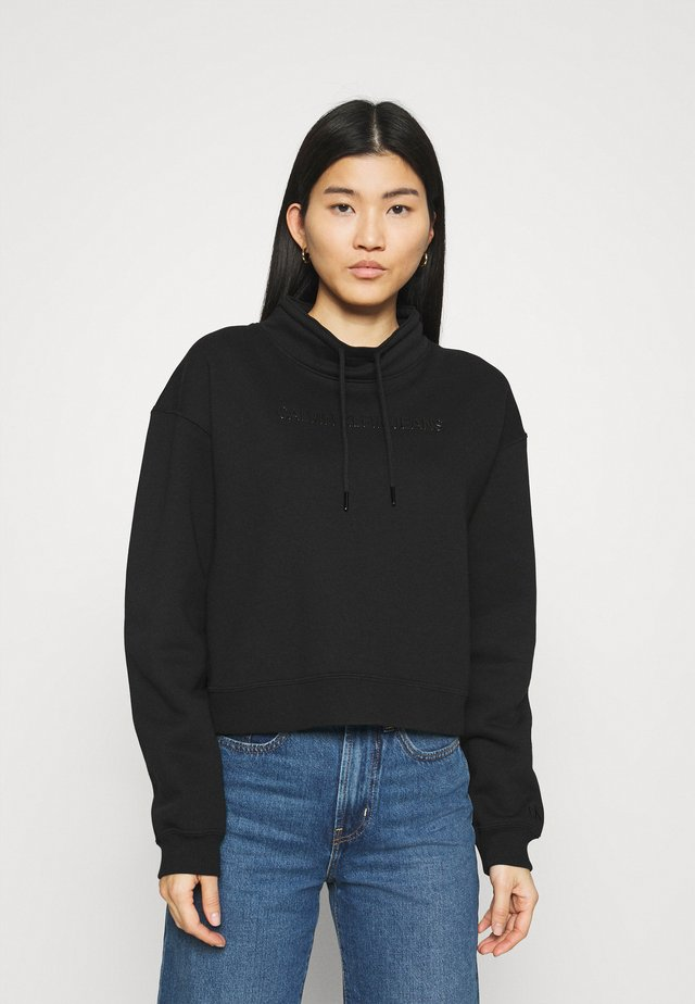 SHINY RAISED INST MOCK NECK - Collegepaita - black