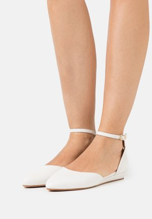 LEATHER - Ankle strap ballet pumps - white