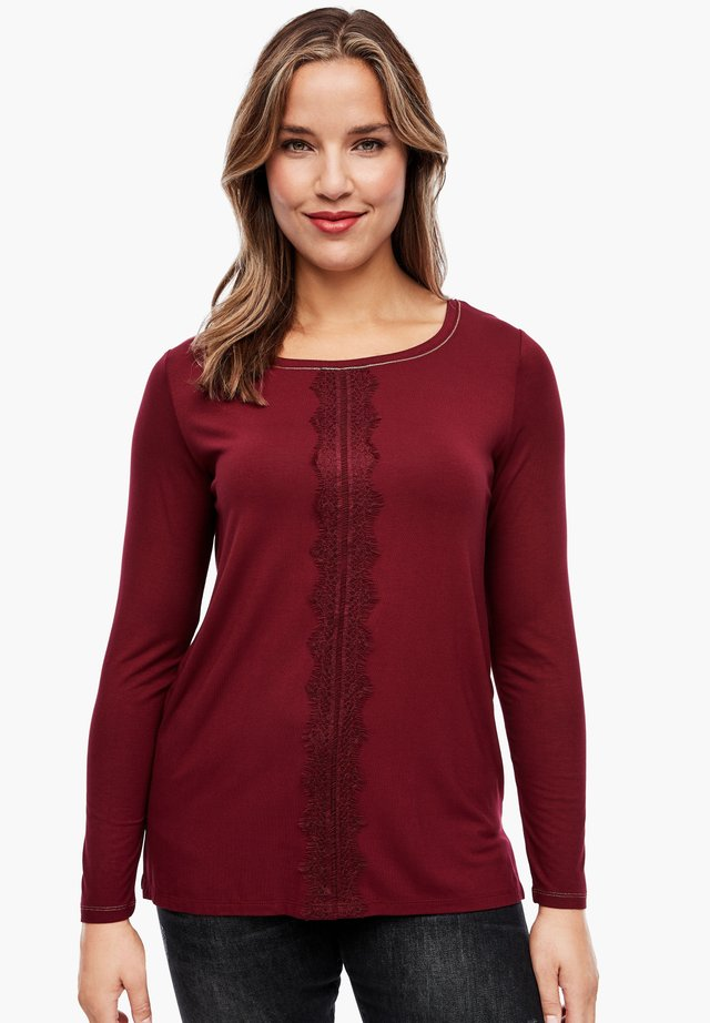 MIT SPITZEN-DETAIL - Long sleeved top - bordeaux