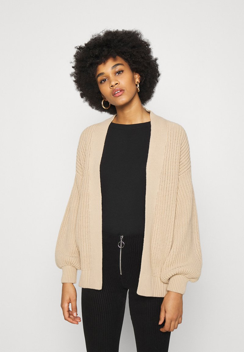New Look - STITCHY BALLOON SLEEVE CARDIGAN - Cardigan - camel