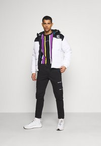 Karl Kani - HOODED BLOCK PUFFER JACKET - Winter jacket - white - 1
