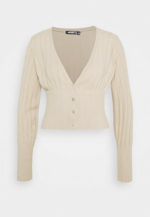 BALLOON SLEEVE CROP CARDIGAN - Cardigan - beige