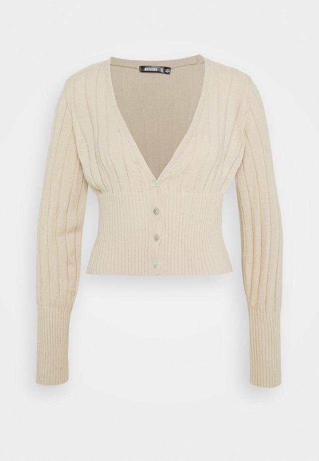 BALLOON SLEEVE CROP CARDIGAN - Cardigan - beige