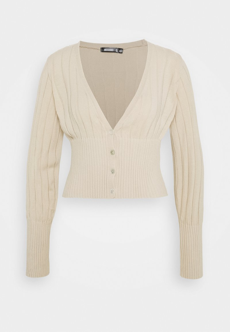 Missguided Petite - BALLOON SLEEVE CROP CARDIGAN - Cardigan - beige