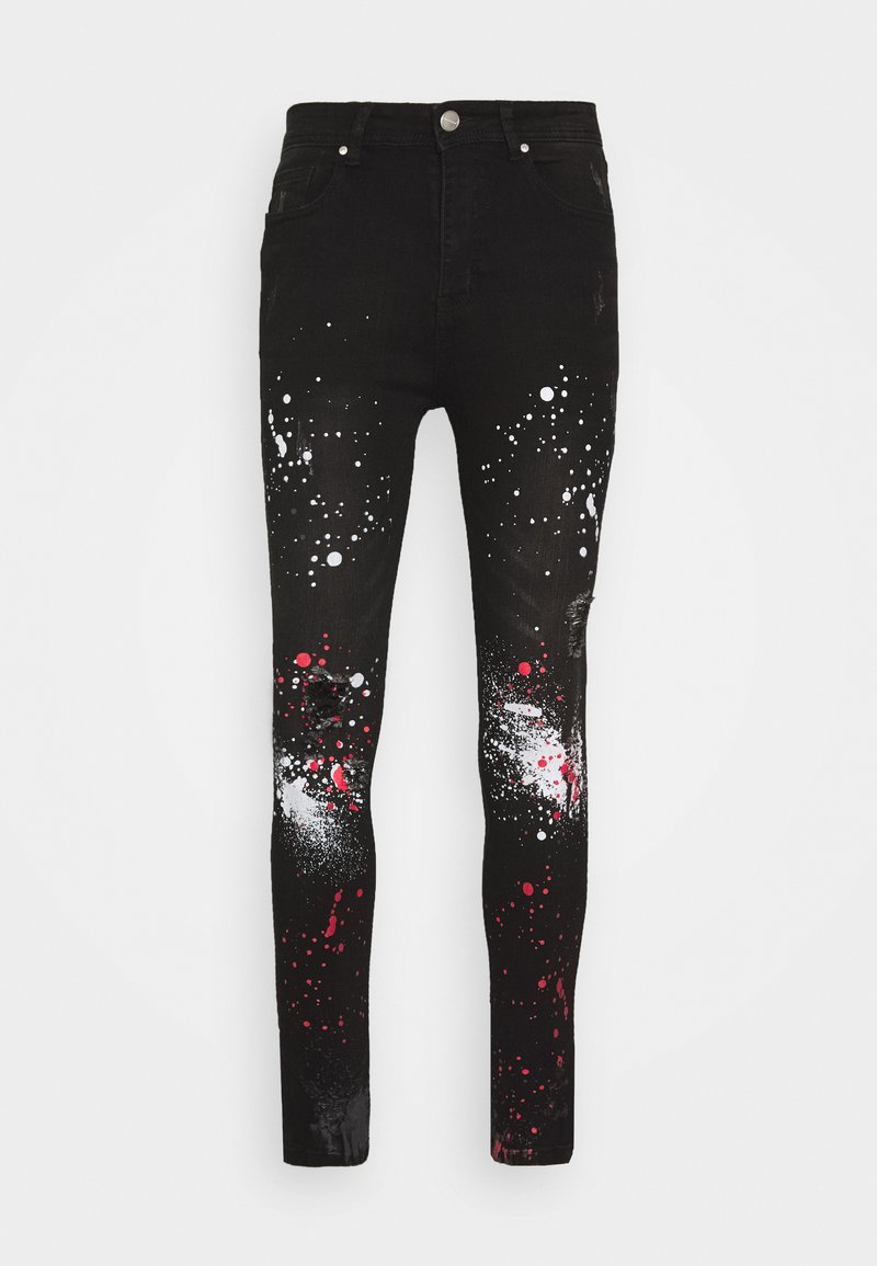 Good For Nothing - DARK RIPPED WITH PAINT - Jeansy Skinny Fit - black
