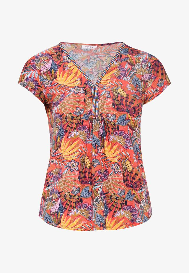 MIT FARBIGEM ETHNO-PRINT - T-shirts print - orange