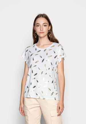 ONLFEATHER - T-shirt imprimé - cloud dancer/gold