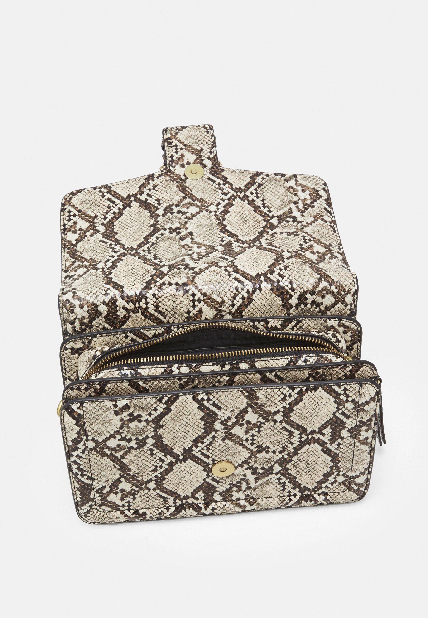 Women PYTHON BUCKLE SHOULDER BAG - Handbag