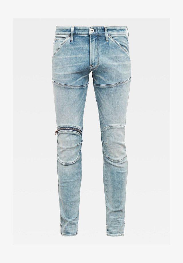 5620 3D ZIP KNEE SKINNY - Jeans Skinny Fit - sun faded scanda blue