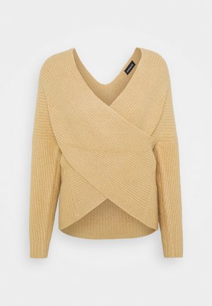CROSS FRONT JUMPER - Strikpullover /Striktrøjer - tan