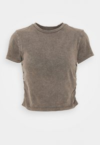 BDG Urban Outfitters - RUCHED CROP - T-shirt imprimé - washed black - 4