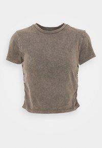 RUCHED CROP - Print T-shirt - washed black