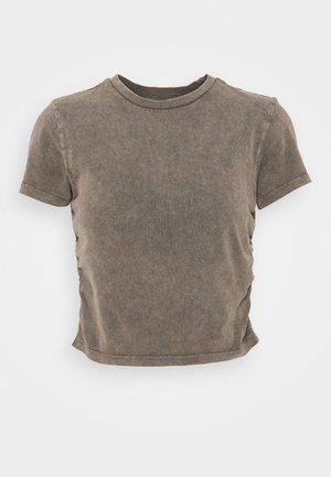 RUCHED CROP - T-shirt imprimé - washed black