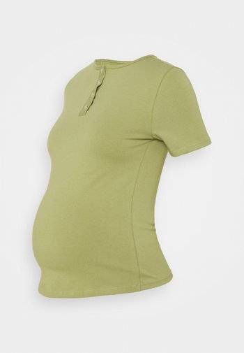 MATERNITY POPPER FRONT - Basic T-shirt - sage