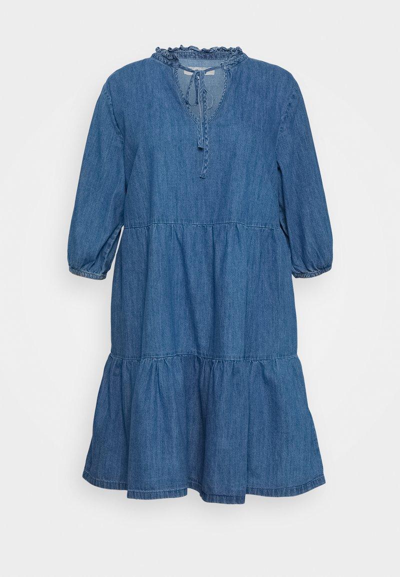New Look Curves - TIER MIDAXI - Denim dress - blue denim