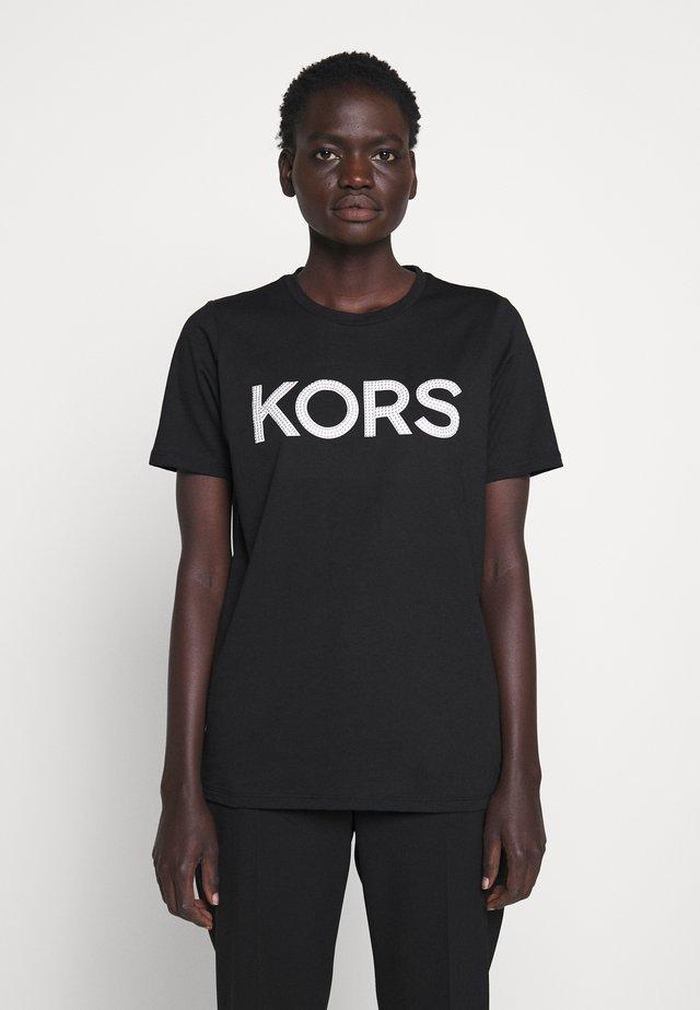 Print T-shirt - black/silver
