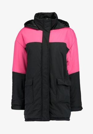 COLOUR BLOCK PADDED RACING JACKET - Winter coat - black
