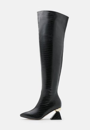 WIDE FIT SPIRAL - Over-the-knee boots - black