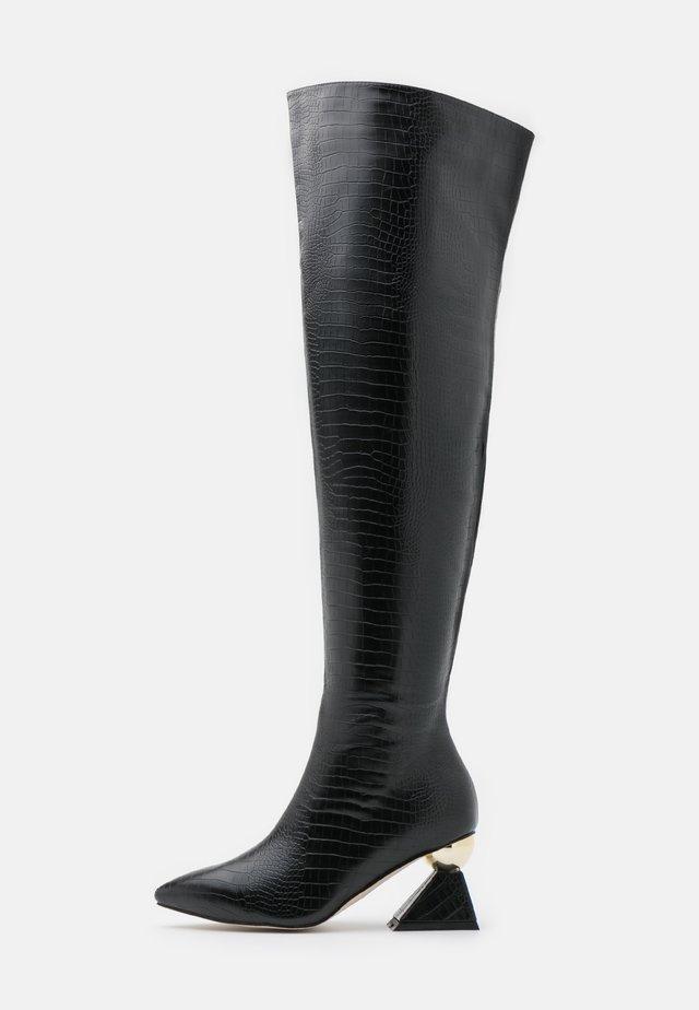 WIDE FIT SPIRAL - Overknee laarzen - black