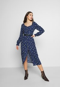 Missguided - BUTTON MILKMAID MIDI DRESS FLORAL - Kjole - navy - 2