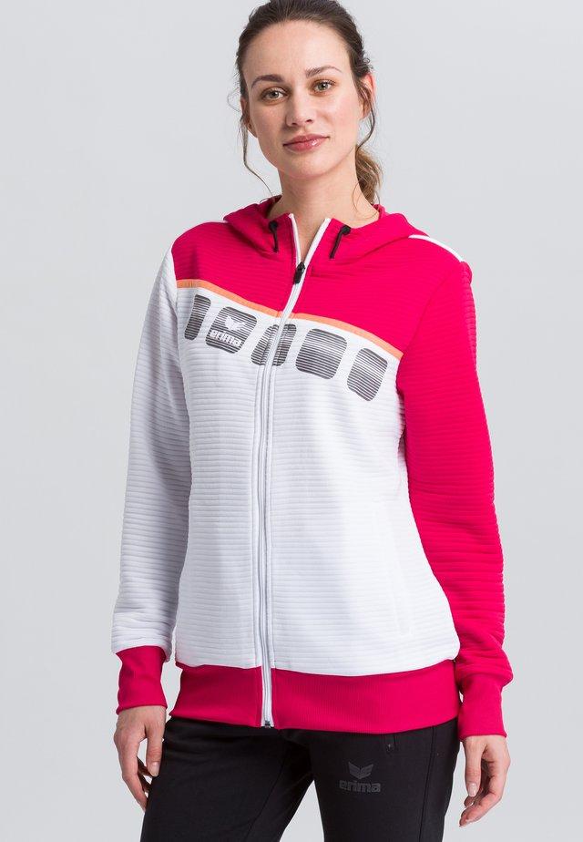 Zip-up hoodie - white/pink
