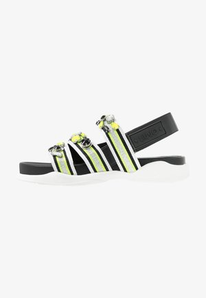 STAR SPREADING - Sandály na platformě - black/yellow fluo