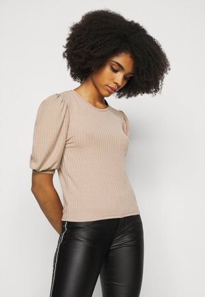 RIBBED PUFF SLEEVE SHORT SLEEVE - T-shirt basique - sand