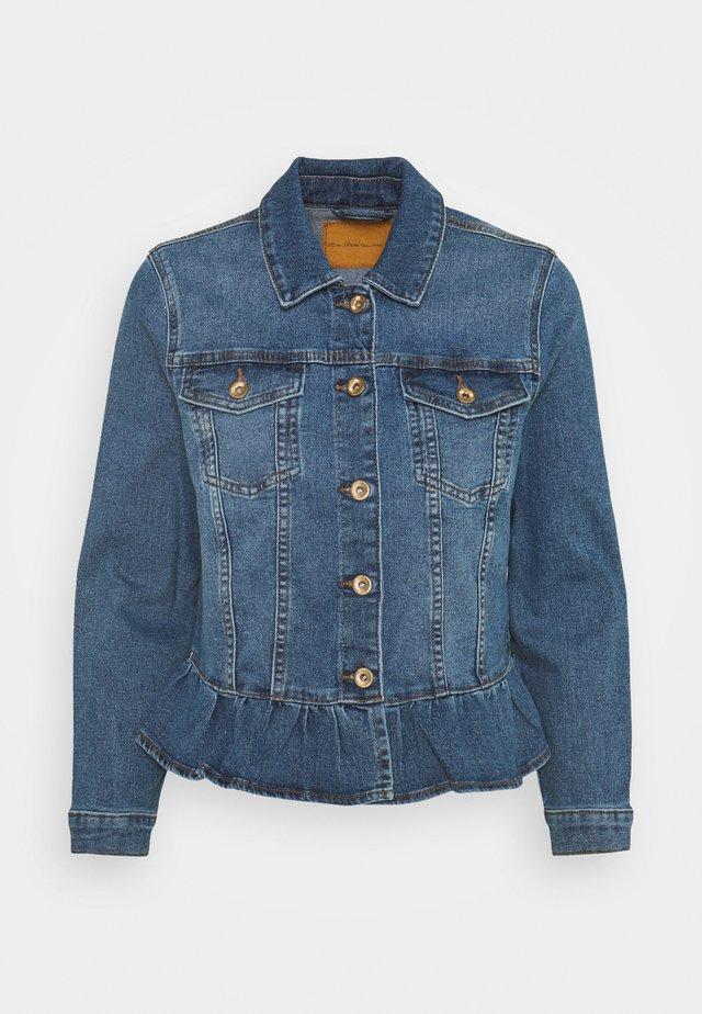 ONLALLY FRILL JACKET - Denim jacket - medium blue denim