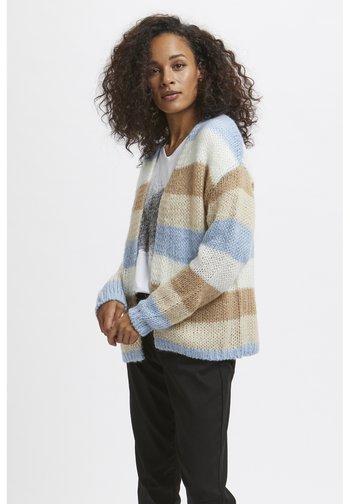 Cardigan - chambray blue beige stripe