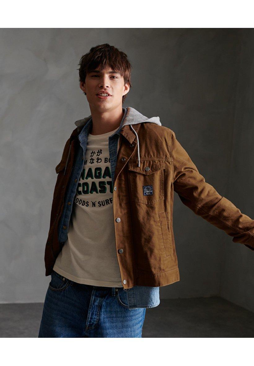 Men SUPERDRY CANVAS HOODED HACIENDA TRUCKER JACKET - Summer jacket