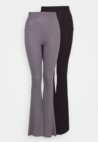 Missguided - 2 PACK FLARE  - Trousers - black/grey - 4