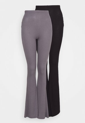 2 PACK FLARE  - Trousers - black/grey
