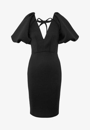 TRUE EXTREME PUFF SHOULDER PLUNGE MINI DRESS - Vestido de cóctel - black