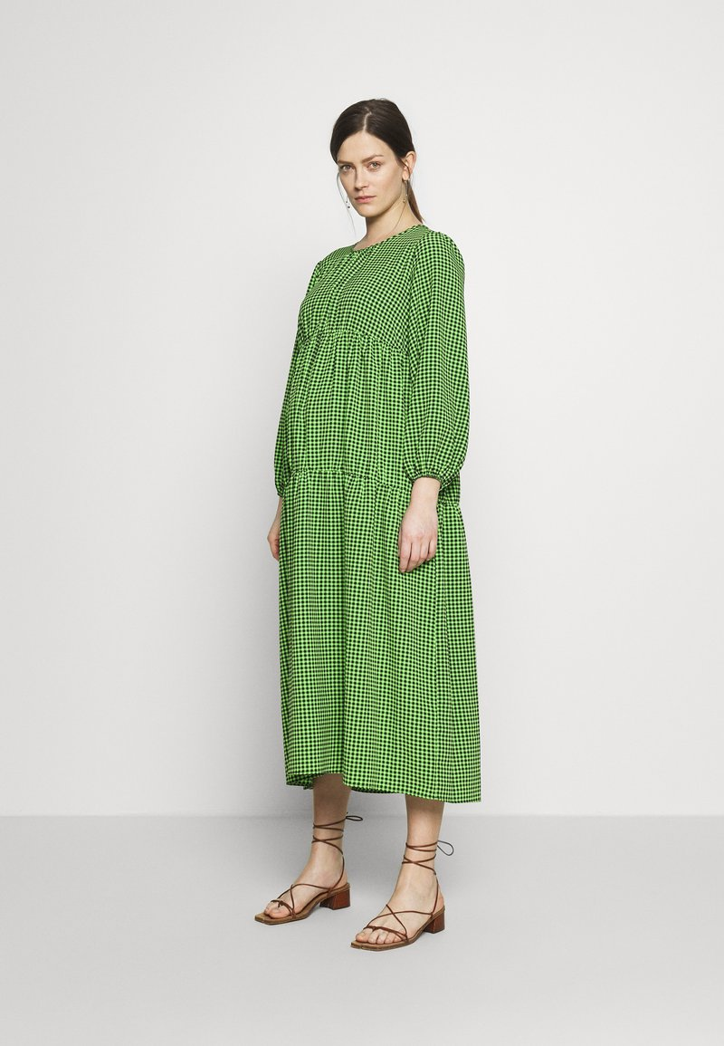 Topshop Maternity - SMOCK TIERED DRESS - Day dress - green/black
