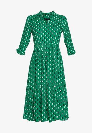 DRESS FEMININE SHAPE V-NECK WITH COLLARSTAND - Denní šaty - green