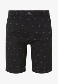 TOM TAILOR DENIM - TOM TAILOR DENIM HOSEN & CHINO GEMUSTERTE CHINO SHORTS - Shorts - black small leaves print - 6