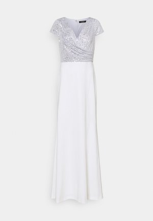KRYSTAL CAP SLEEVE EVENING DRESS - Společenské šaty - white/silver