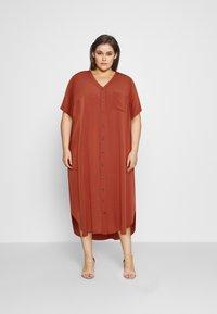 ONLY Carmakoma - CARNEWDENIZIA CALF DRESS - Shirt dress - arabian spice - 0