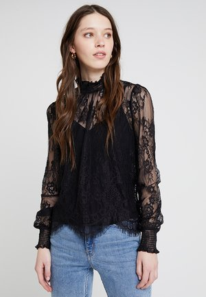 SCALLOP HEM - Blouse - black