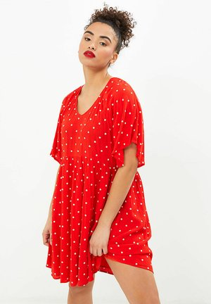 Day dress - broderie  rouge